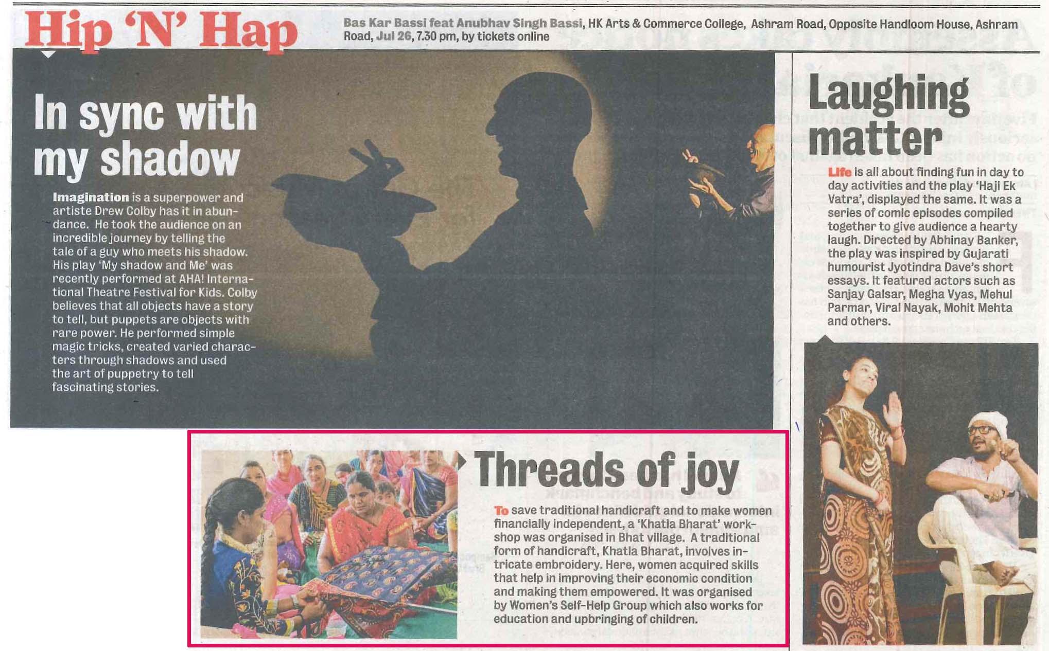 'Khatla Bharat' Coverage in Ahmedabad Mirror, 20th July, 2019