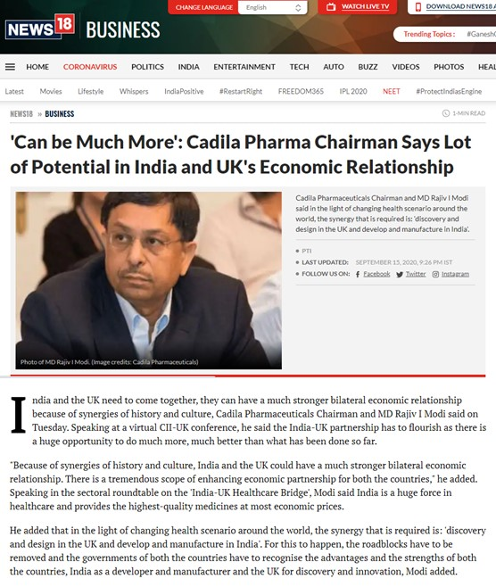 Cadila Pharmaceuticals' Chairman and Managing Director, Dr Rajiv Modi talks about India and UK's economic relationship at a virtual conference held by CII