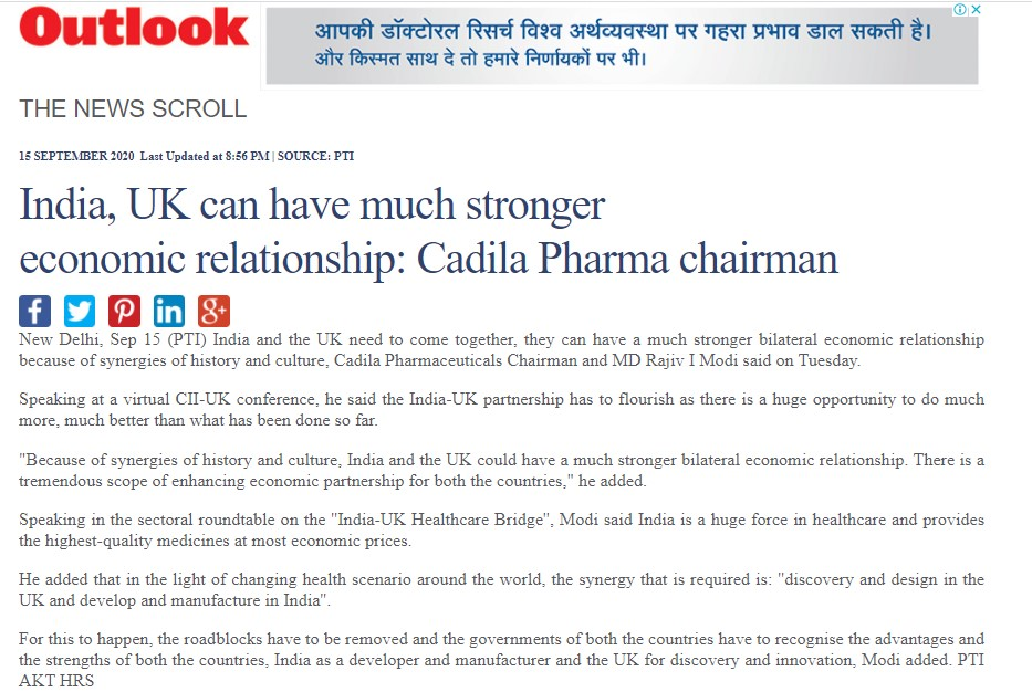 Cadila Pharmaceuticals' chairman and managing director, Dr Rajiv Modi, talks about India and UK economic relationship
